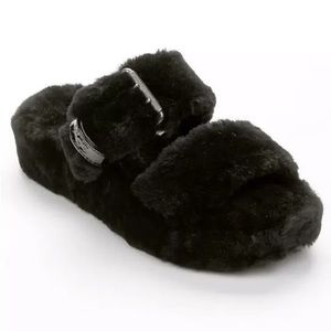 NEW Ugg Fuzz Yeah Slide Slippers Black